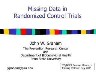 Missing Data in  Randomized Control Trials