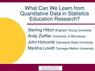 What Can We Learn from Quantitative Data in Statistics Education Research?