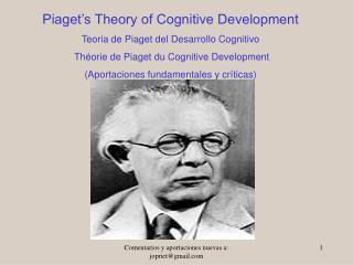 Piaget's Theory of Cognitive Development Teoria de Piaget del Desarrollo Cognitivo