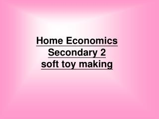 Home Economics  Secondary 2 soft toy making