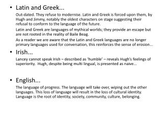 Latin and Greek...