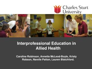 Interprofessional Education in Allied Health
