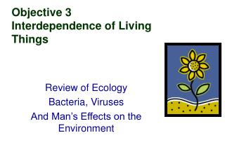 Objective 3  Interdependence of Living Things