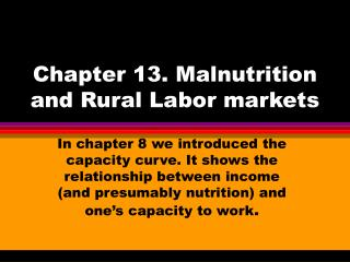 Chapter 13. Malnutrition and Rural Labor markets