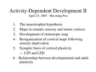 Activity-Dependent Development II April 25, 2007   Mu-ming Poo