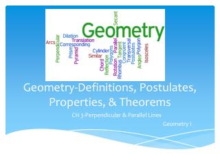 Geometry-Definitions, Postulates, Properties, & Theorems