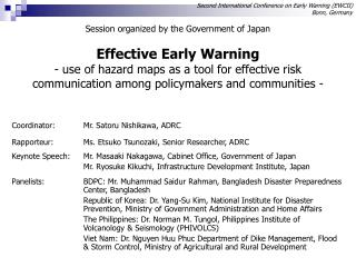Second International Conference on Early Warning (EWCII) Bonn, Germany