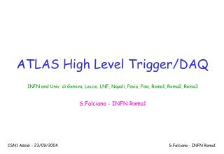 ATLAS High Level Trigger/DAQ