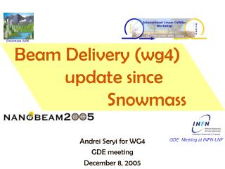 Beam Delivery (wg4)        update since                      Snowmass