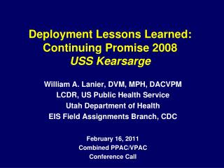 Deployment Lessons Learned: Continuing Promise 2008 USS Kearsarge