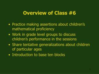 Overview of Class #6
