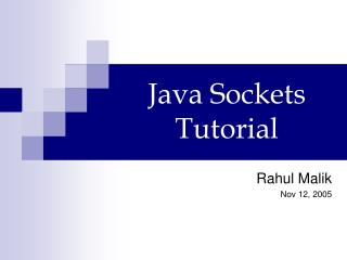 Java Sockets Tutorial