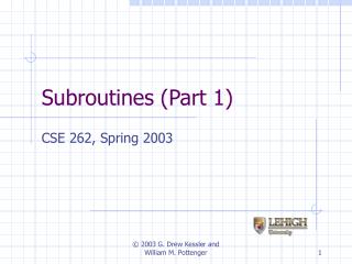 Subroutines Part 1