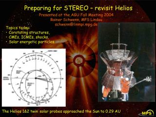 Preparing for STEREO – revisit Helios