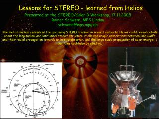 Lessons for STEREO - learned from Helios