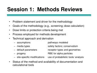 Session 1:  Methods Reviews