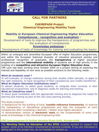 CALL FOR PARTNERS CHEMEPASS Project Chemical Engineering Mobility Tools