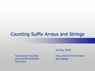 Counting Suffix Arrays and Strings