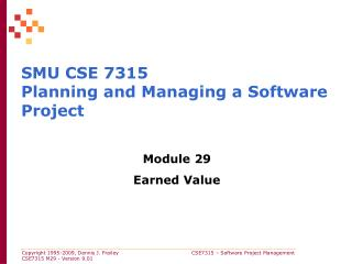 SMU CSE 7315 Planning and Managing a Software Project