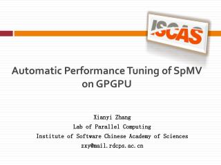 Automatic Performance Tuning of SpMV on GPGPU
