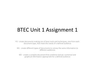 BTEC Unit 1 Assignment 1
