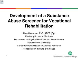 Development of a Substance Abuse Screener for Vocational Rehabilitation