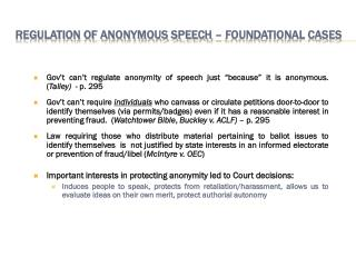 Regulation of Anonymous Speech – Foundational Cases