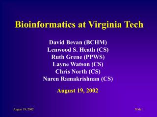 Bioinformatics at Virginia Tech