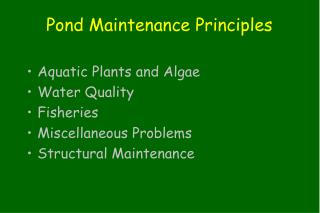 Pond Maintenance Principles