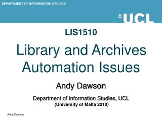 LIS1510 Library and Archives Automation Issues