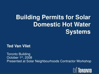 Building Permits for Solar Domestic Hot Water Systems