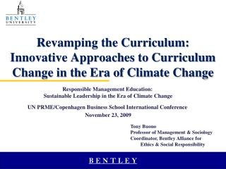 Revamping the Curriculum:  Innovative Approaches to Curriculum Change in the Era of Climate Change