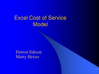 Excel Cost of Service Model