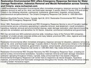 Restoration Environmental REC offers Emergency Response Serv