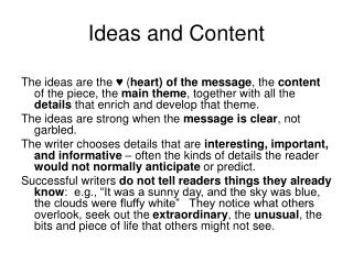 Ideas and Content