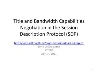 Title and Bandwidth Capabilities Negotiation in the Session  Description Protocol  (SDP )