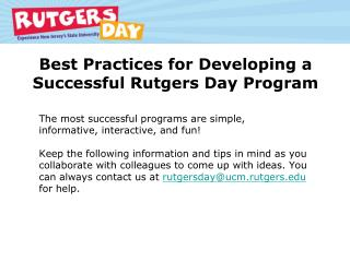 Best Practices for Developing a Successful Rutgers Day Program