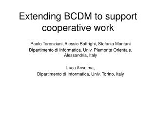 Extending BCDM to support cooperative work