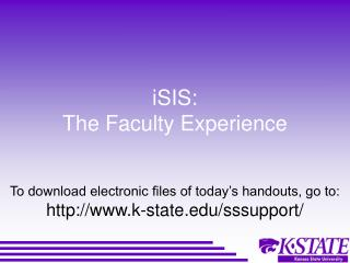 iSIS: The Faculty Experience