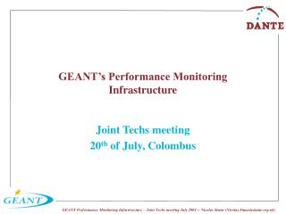 GEANT's Performance Monitoring Infrastructure