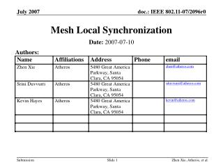 Mesh Local Synchronization