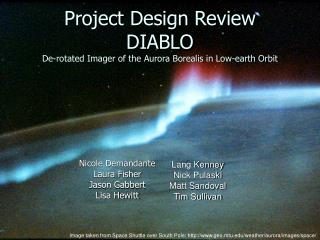 Project Design Review DIABLO De-rotated Imager of the Aurora Borealis in Low-earth Orbit