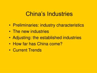 China's Industries