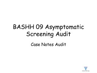 BASHH 09 Asymptomatic Screening Audit