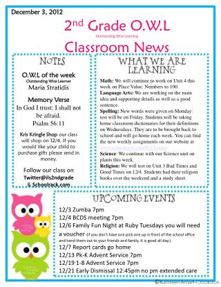 2 nd  Grade O.W.L Outstanding Wise Learning Classroom News