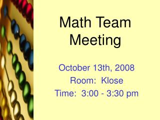Math Team Meeting