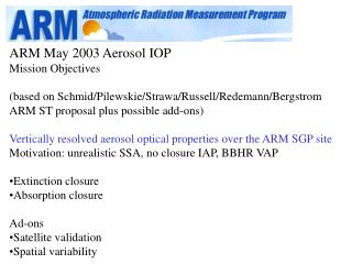 ARM May 2003 Aerosol IOP Mission Objectives