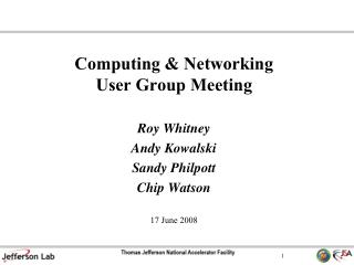 Computing & Networking User Group Meeting