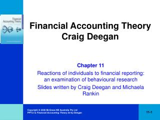 Financial Accounting Theory Craig Deegan