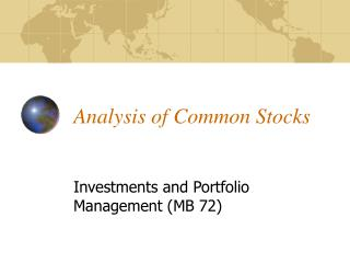 Analysis of Common Stocks